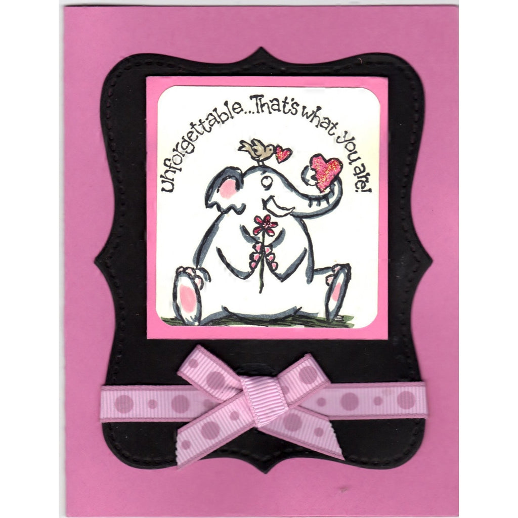 Unforgettable Elephant Handmade Good Greeting Supply Card - Cards And Other Paper Products - Made In U.S.A. - SharPharMade - 1