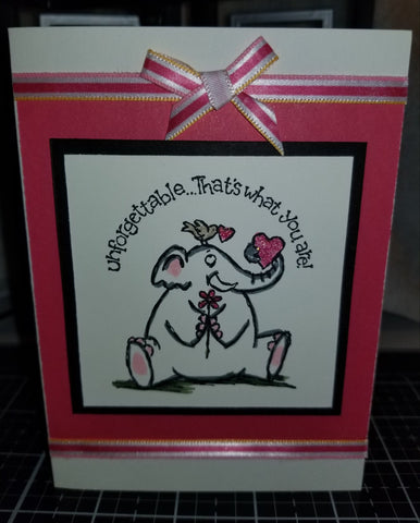 Unforgettable Elephant Love Handmade Good Greeting Supply Card CLEARANCE