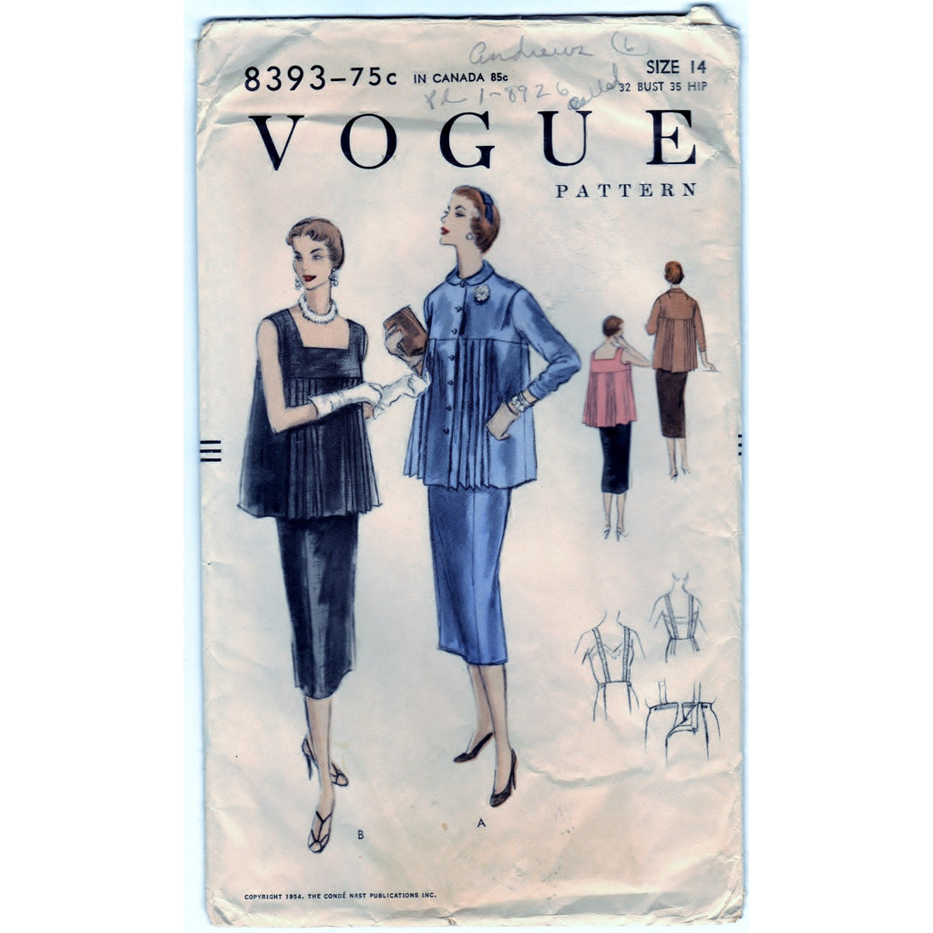 Vogue 8393 Pattern Vintage Maternity Blouse and Skirt