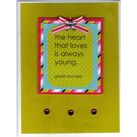 Young Greek Heart Handmade Good Greeting Supply Card - Cards And Other Paper Products - Made In U.S.A. - SharPharMade - 1