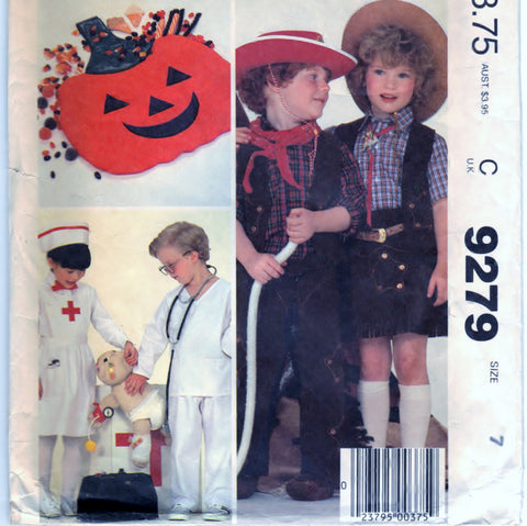 McCalls 9279 Pattern Vintage Childrens, Boys And Girls Costumes And Bag