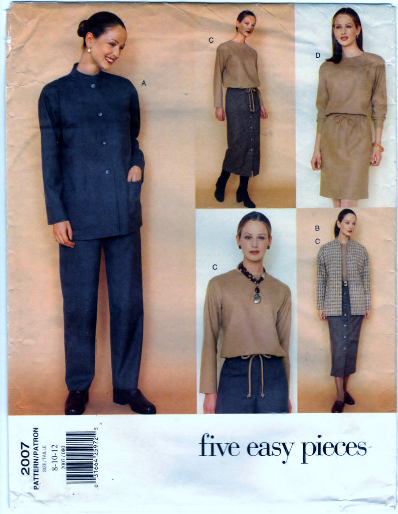 Vogue 2007 Pattern Vintage Misses Jacket, Dress, Top, Skirt & Pants