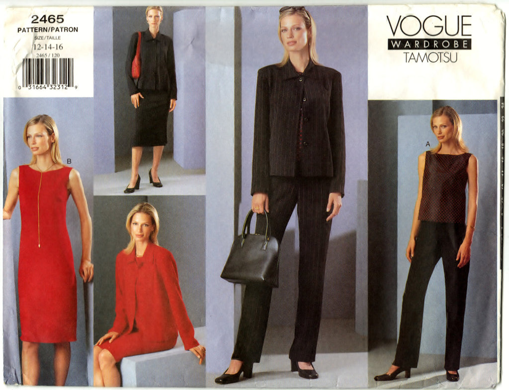 Vogue 2465 Pattern Non-Vin Misses Petite Jacket, Dress, Top, Skirt & Pants