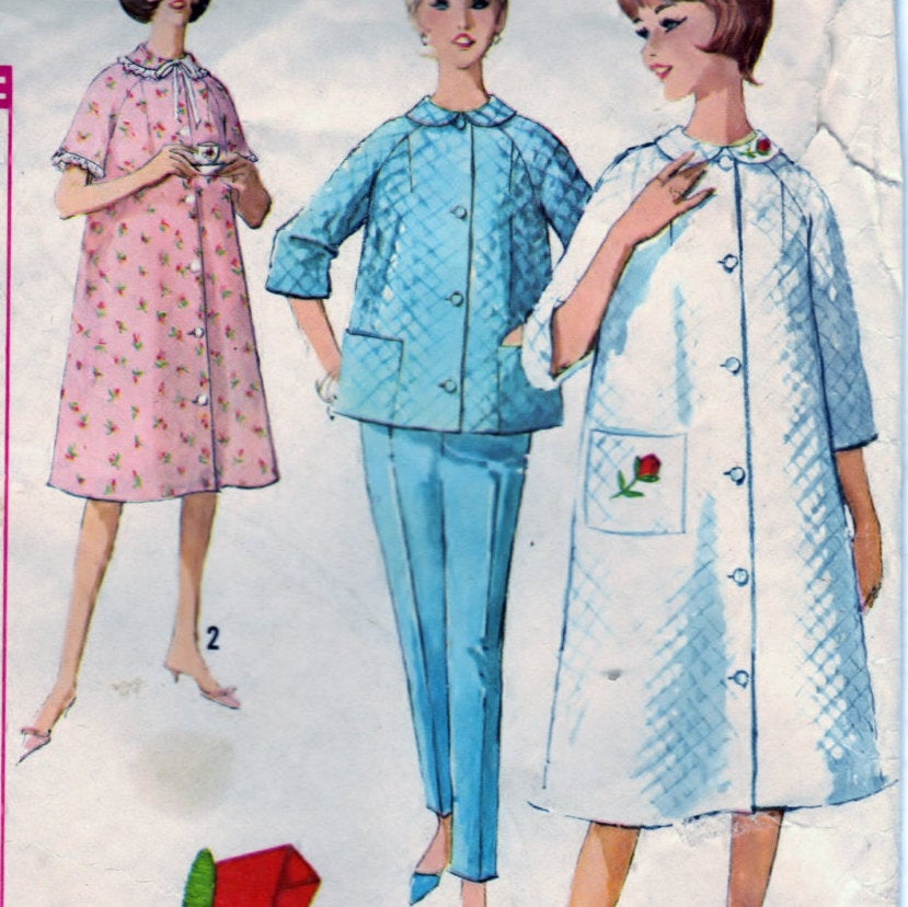 Simplicity 5205 Pattern Vintage Misses Robe, Top and Pants