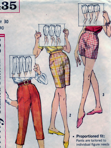 Simplicity 3435 Pattern Vintage Pedal Pushers & Shorts