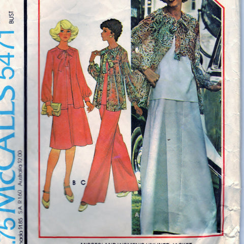 McCalls 5471 Pattern Vintage Misses Women Jacket Top Skirt Pants