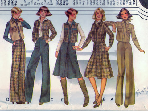 McCalls 5712 Pattern Vintage Misses and Junior Unlined Jacket or Vest, Skirt and Pants