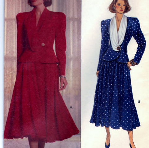 Butterick 5237 Pattern Vintage Misses Top With Softly Tucked Collar and Skirt