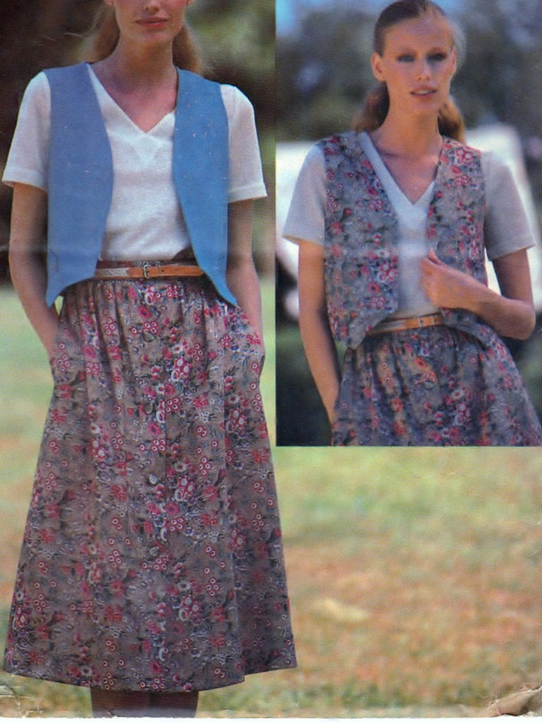 Butterick See & Sew 6389 Pattern Vintage Misses Reversible Vest and Skirt
