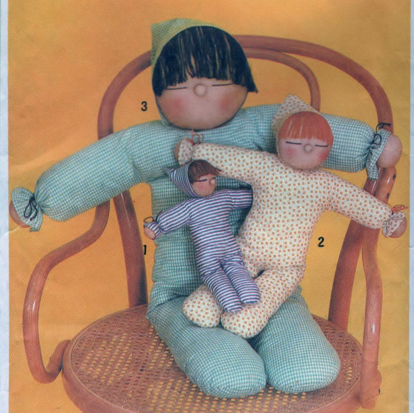 Simplicity 9544 Pattern Vintage Stuffed Doll In Three Sizes Craft Tool