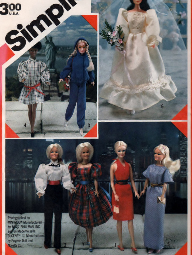 Simplicity 6097 Pattern Vintage Wardrobe For Fashion Dolls