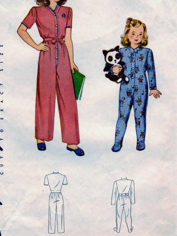 Simplicity 4545 Pattern Vintage Child One Piece Pajama