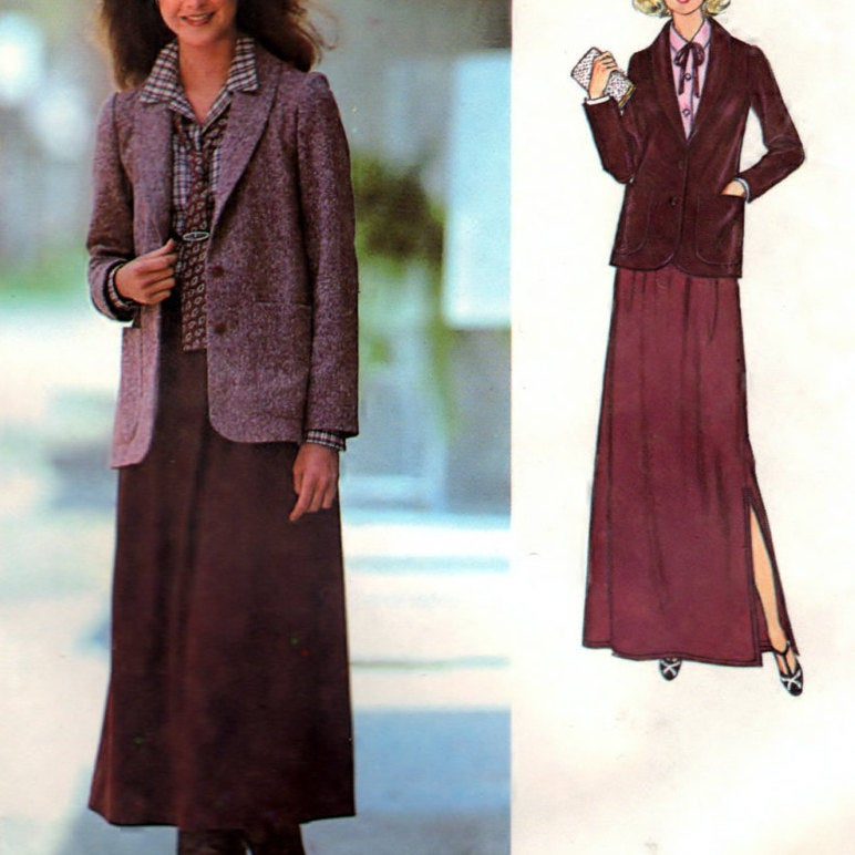 Simplicity 8774 Pattern Vintage Misses Blouse, Unlined Jacket And Skirt In Two Lengths