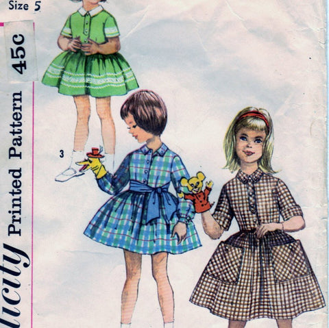 Simplicity 3563 Pattern Vintage Child One Piece Dress and Tie Belt