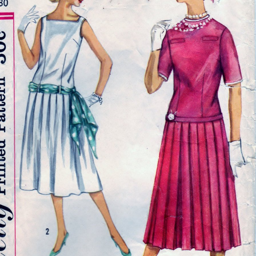 Simplicity 2363 Pattern Vintage Jr. Misses and Teen Age Two-Piece Dress and Sash