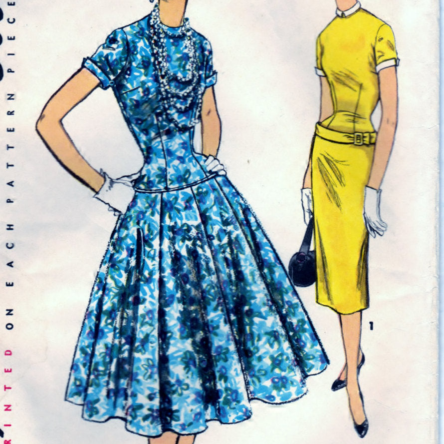 Simplicity 4993 Pattern Vintage Misses One Piece Dress With Two Skirts
