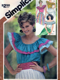 Simplicity 5940 Pattern Vintage Misses Pullover Ruffled Tops