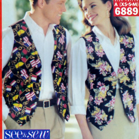 Butterick See and Sew 6889 Pattern Vintage Unisex Lined Vest