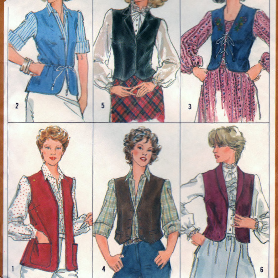 Simplicity 5294 Pattern Vintage Misses Set of Lined and Unlined Vests