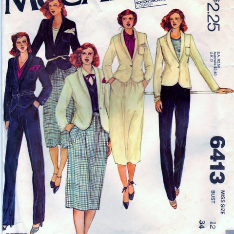 McCalls 6413 Pattern Vintage Misses Jacket, Skirt, and Trousers
