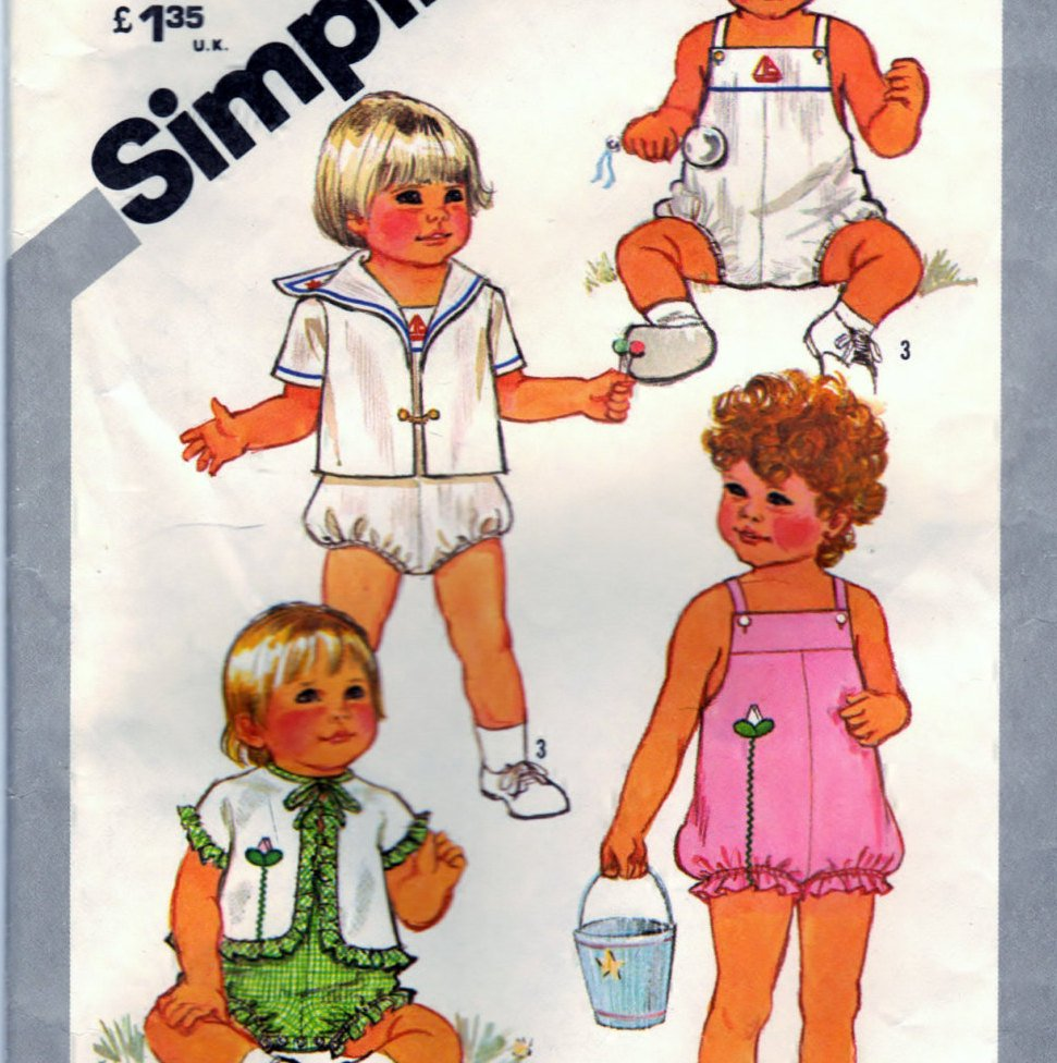 Simplicity 5523 Pattern Vintage Toddlers Sunsuit and Lined and Unlined Jackets