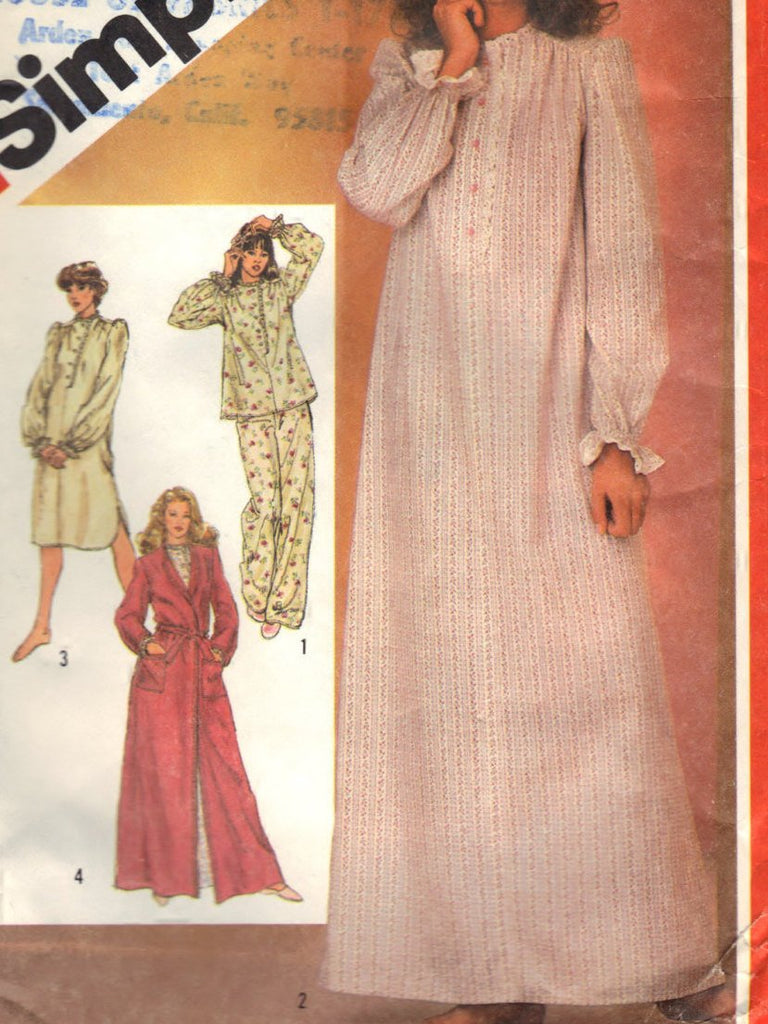 Simplicity 5737 Pattern Vintage Misses Nightgown In Two Lengths, Pajamas And Robe