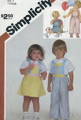 Simplicity 6311 Pattern Vintage Toddlers Overalls, Jumper, And Sundress