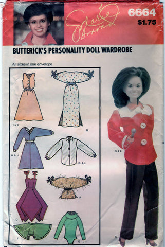 Butterick 6664 Pattern Vintage Personality Fashion Doll Wardrobe