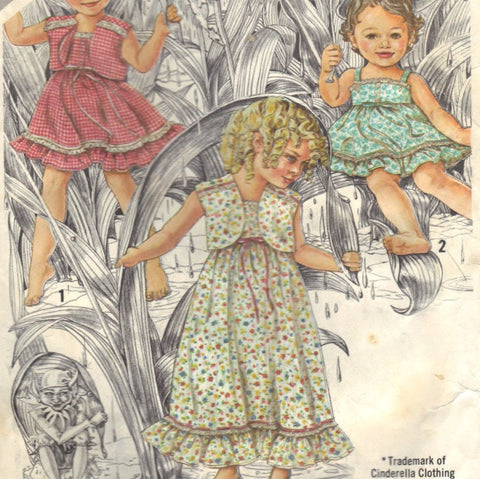Simplicity 9940 Pattern Vintage Toddlers Sundress In Two Lengths And Self-Lined Jacket