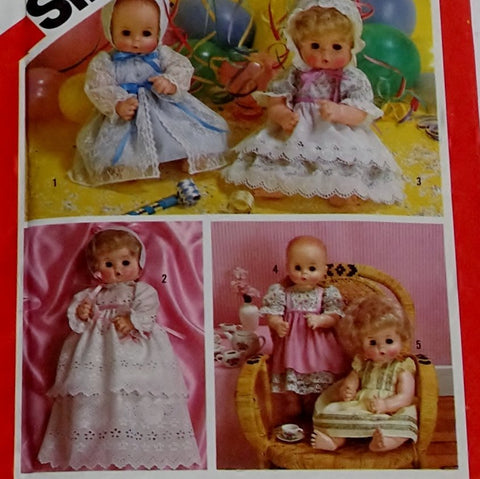 Simplicity 6055 Pattern Vintage Dolls Set Of Party Dresses Lge