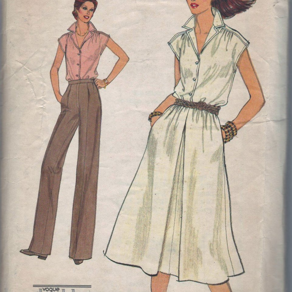 Very Easy Vogue 7088 Pattern Vintage Misses Blouse, Skirt And Pants