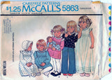 McCalls 5863 Pattern Vintage Toddlers Dress Or Top And Hat