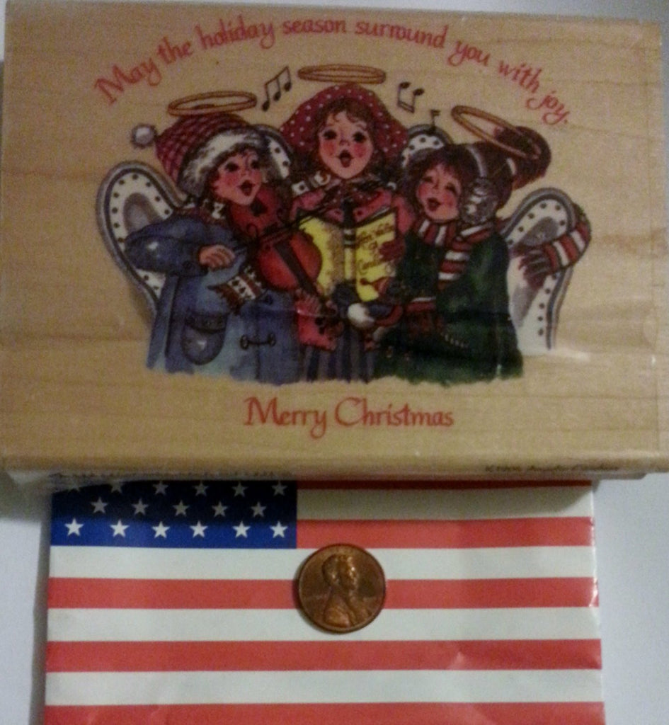 Hampton Arts Rubber Stamp Holiday Angel Carolers K1904