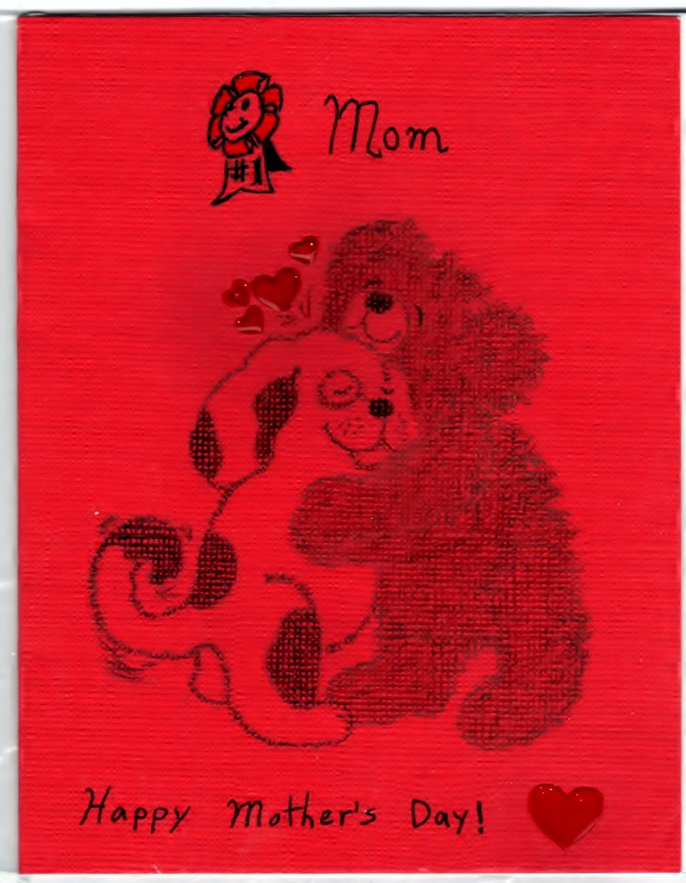 Mothers Day Handmade Hugging Dog and Bear Greeting Card