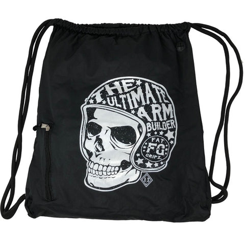 Fat Gripz Black Skull Heavy-Duty Drawstring Bag