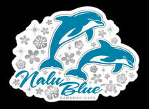 two blue dolphins surrounded by flowers