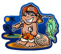little hawaiian boy holding fish and poi
