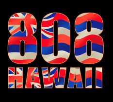 808 HAWAII Hawaiian flag decal