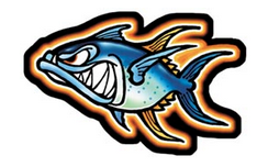 crazy ahi (tuna) character decal
