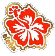 red and gold hibiscus decal