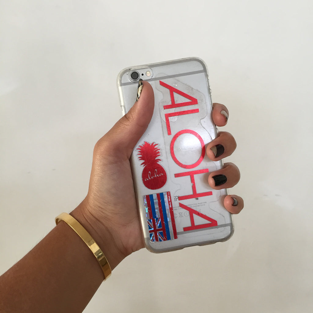 red aloha decal on iphone