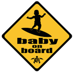 baby on surfboard car decal
