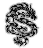 black and silver tribal dragon