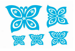 five blue butterfly decals