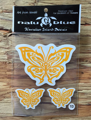 yellow tribal butterfly decals
