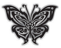 black and chrome tribal butterfly decal