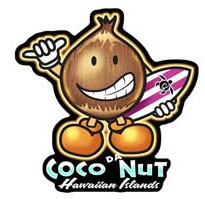 coco da nut coconut character holding surboard