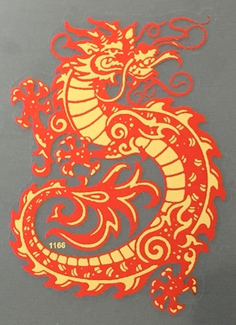 Curly red dragon decal