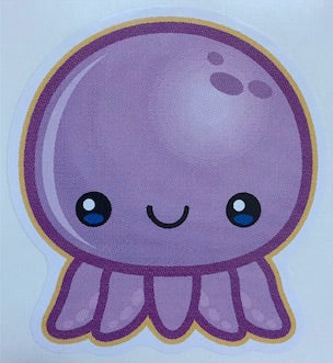cute purple octopus decal