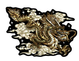 green dragon surrounded by clouds decal